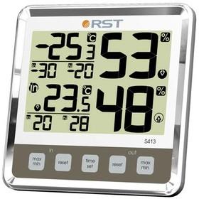 02413 RST Цифровой термогигрометр с большим дисплеем, дом/улица, цвет слоновая кость. EAN 7316040024139