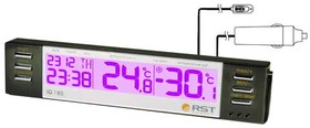 02180 RSTЦифровой автомобильный термометр (салон/ улица), часы, календарь. EAN 7316040021800
