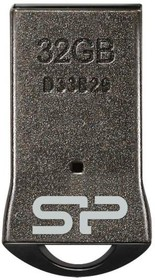 Флешка USB SILICON POWER Touch T01 32Гб, USB2.0, черный и серебристый [sp032gbuf2t01v1k]