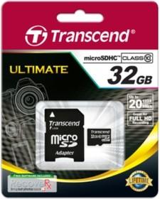 Карта памяти microSDHC TRANSCEND 32 ГБ, 20 МБ/с, Class 10, TS32GUSDHC10, 1 шт., переходник SD