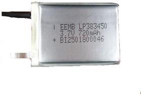 LP383450, Аккумулятор литий-полимерный (Li-Pol) 720мАч 3.7В в призматическом корпусе