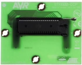 Фото 1/2 ATSTK600-DIP40 (ATSTK600-SC01), Дочерний модуль с ZIF-сокетом под корпус DIP40 для ATSTK600
