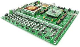Фото 1/2 MIKROE-1205, EasyPIC Fusion v7, Полнофункциональная отладочная плата для изучения МК Microchip dsPIC33, PIC24 и PIC32