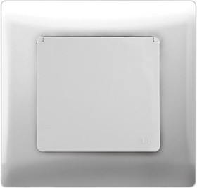V01-11-R18-S (Розетка 1-мест. с зазем. и крышкой (бел), в сб. Magenta)