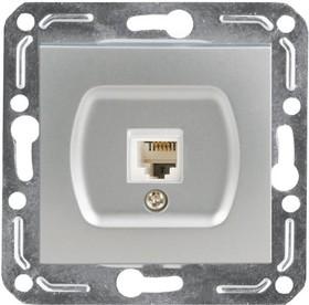 V01-15-F12-M (Розетка 1-мест. телеф. RJ -11 Argento(серебро), м-зм, Magenta )