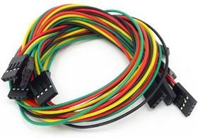 Фото 1/2 4 pin dual-female jumper wire - 300mm (5 PCs pack), Набор проводов соединительных (F-F) 5 штук