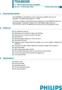 Скачать даташит TDA8920B pdf.