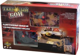 Танковый бой радиоуправляемый, ИК датчик, 2 танка, 1:32 с аккумулятором, поворотная башня, свет, звук (508-10)