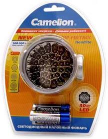 Фото 1/2 LED5325-30Mx, Фонарь налобный 30LED, 4 режима,3хR6, серебро
