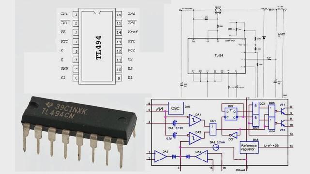 Микросхема TL494 является ШИМ-контроллером импульсного источника питания.  Контроллер включает в себя усилитель...