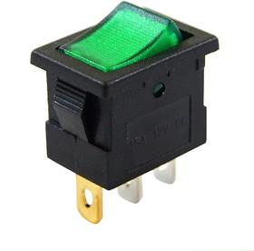 MIRS-101A-2C1/D, Переключатель зеленый с подсветкой ON-OFF (10A 125VAC, 6A 250VAC, 15A 12VDC) SPST 3P