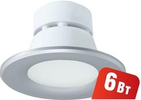 Фото 1/4 NDL-P1-6W-840-SL-LED (94834), Светильник светодиодный встраиваемый, 6Вт, серебро