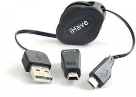 Фото 1/2 BT2101, Кабель-рулетка USB2.0 A - Micro USB B, переходник Micro B -Mini B, 0.1-0.7м