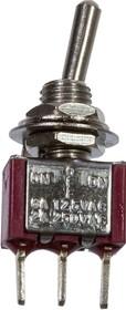MTS-103-A2-R, миниатюрный тумблер ON-OFF-ON, 3конт. на плату, красный