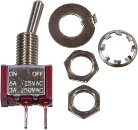 MTS-101-A2-R, миниатюрный тумблер ON-OFF 2 конт. на плату, красный