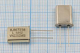 Фото 1/4 Кварц 8.867238МГц, корпус HC49U, нагрузка 16пФ, расширенный интервал температур -40~+70C, 8867,238 \HC49U\16\ 15\ 30/-40~70C\РПК01МД-6ВС\1Г