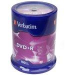 Verbatim 43551 DVD+R 4.7 GB 16x CB/100, Записываемый компакт-диск