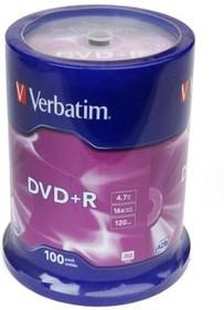 Фото 1/2 Verbatim 43551 DVD+R 4.7 GB 16x CB/100, Записываемый компакт-диск