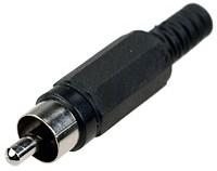 "1-200 BK, (RP-405), Разъем RCA ""шт"" пластик на кабель, черный"