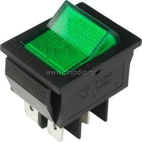 IRS-201-2B1 (зеленый), Переключатель с подсветкой ON-OFF (15A 250VAC) DPST 4P