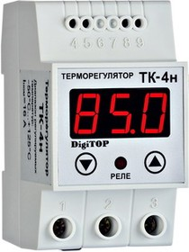 Фото 1/2 ТК-4н, Терморегулятор с датчиком, DIN (одноканальный, цифровой датчик) 0...+85, шаг 1,0