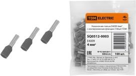 SQ0512-0003 (упаковка из 100), Наконечник-гильза Е4009 4мм2 с изолированным фланцем серый (100шт)
