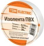 Изолента ПВХ 0,15х19мм Белая 20м TDM