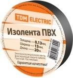 Изолента ПВХ 0,13*15мм Черная 20м TDM