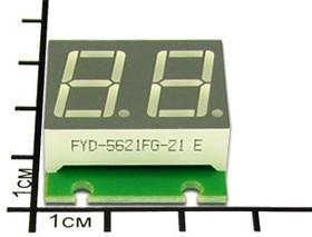 Фото 1/3 SHD0028UY, Двухразрядный светодиодный семисегментный дисплей со сдвиговым регистром, желтый ультра-яркий