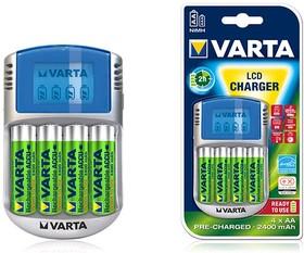 57070, Устройство зарядное VARTA LCD + 4*AA 2600 mAh R2U, 12V, USB адаптер