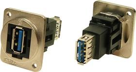 CP30205NM3, Адаптер USB, металлический каркас, отверстия M3, Гнездо USB Типа A, Гнездо USB Типа A, USB 3.0