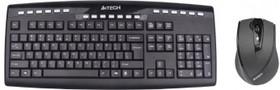 Комплект (клавиатура+мышь) A4 9200F, USB, беспроводной, черный
