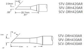 STV-DRH420AR, Наконечник для PS-900 миниволна удлиненная 2.0 х 20.7 мм