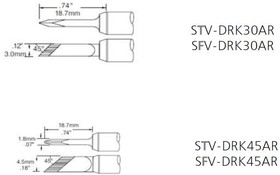 STV-DRK45AR, Наконечник для PS-900 ножевидный удлиненный 4.5 х 18.7 мм