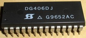 DG406DJ, Мультиплексор аналоговый 16-канальный 50 Ом 200нС