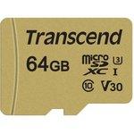 Фото 2/2 TS64GUSD500S, Флеш-накопитель Transcend Карта памяти Transcend 64GB UHS-I U3 microSD with Adapter, MLC