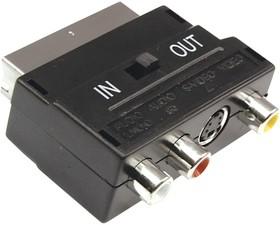 17-1051, Переходник SCART - 3гн.RCA + гн.SVHS (с переключателем)