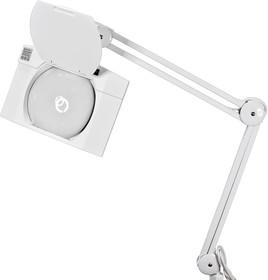 Фото 1/4 31-0513, Лупа на струбцине квадратная настольная 5D с подсветкой LED (светодиодная), белая