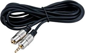 Фото 1/3 17-4023, Шнур 3.5 Stereo Plug - 3.5 Stereo Jack 1.5М (GOLD) - металл