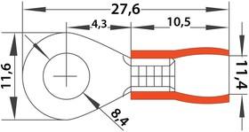 Фото 1/5 08-0016, НАКОНЕЧНИК КОЛЬЦЕВОЙ изолированный (НКИ ø8.4мм) 0.5-1.5мм² (VR1.25-8)