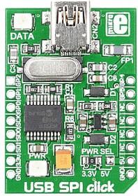 Фото 1/3 MIKROE-1204, USB SPI click, Конвертер USB-SPI