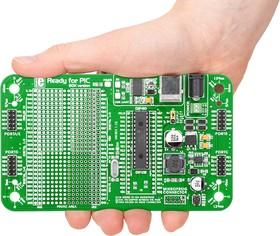 MIKROE-1280, Ready for PIC (DIP28), Макетная плата с установленным мк PIC18F25K22