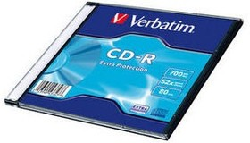 Оптический диск CD-R VERBATIM 700Мб 52x, 1шт., slim case [43347]