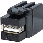 KCUAA2BK, Переходник Keystone USB 2.0 гнездо типа A в гнездо ...