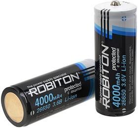 Фото 1/4 Li26650/4000, Аккумулятор Li-ion, 4000mAh, 3.7V, с защитой (26.5х72.5мм)