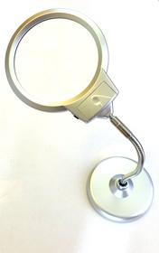 EL-018-13, Лупа круглая 2х +5х, настольная с подсветкой