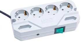 Most CRG, 2м, белый, Удлинитель сетевой с фильтром, 4+2 розетки, компактный