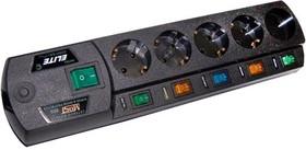 Most ERG, 2м, черный, Удлинитель сетевой с фильтром, 5 розеток,отдельные выключатели
