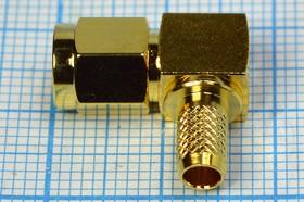 Фото 1/2 Штекер SMA на кабель RG58 обжимной , угловой , позолоченный , 2885 шт SMA\RG58\\обж\угл\Au\