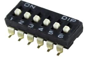 DIP переключатель на 6позициий SMD, шаг 2.54мм; № 2592 ПDIP-06\12P2,54\ ON-OFF\SMD\DM-06\